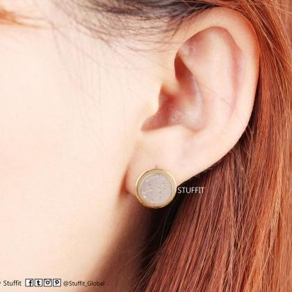 Aquarius Earrings Zodiac Stud Round..