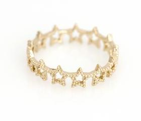 Mulit Stars Ring Delicate Shiny Ring Gold Plated over Brass 5NBAR17