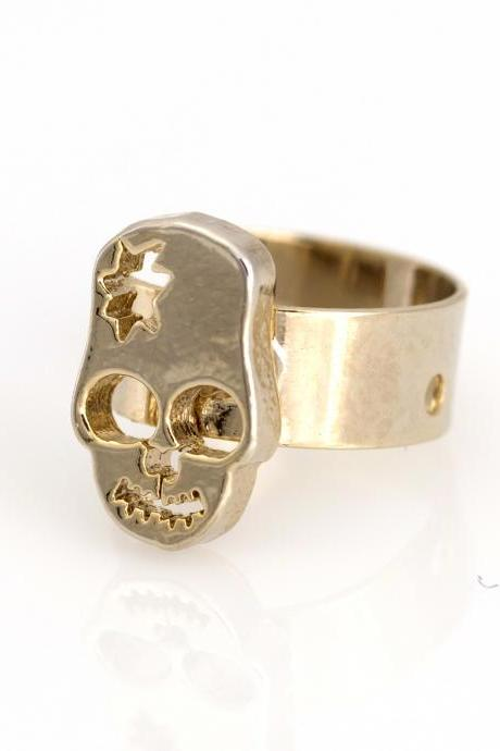 Skull Ear Cuff Delicate Tiny Skull Stud Gold Plated over Brass 5NHBE7