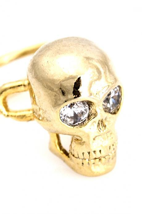 Skull Ear Cuff Delicate Tiny Skull Stud Gold Plated over Brass 5NHBE6
