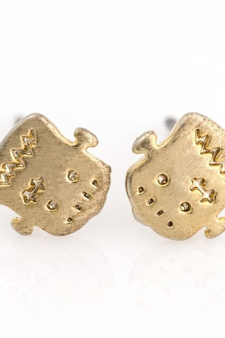 Frankenstein Face Earrings Cute Halloween Stud Gold Plated over Brass 5NHBE5