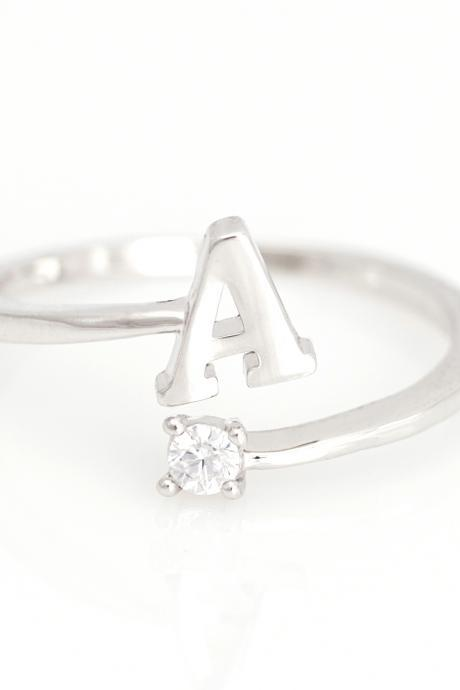 Initial Alphabet Open Ring Personalized Ring Rhodium Plated over Brass 5NGAR1