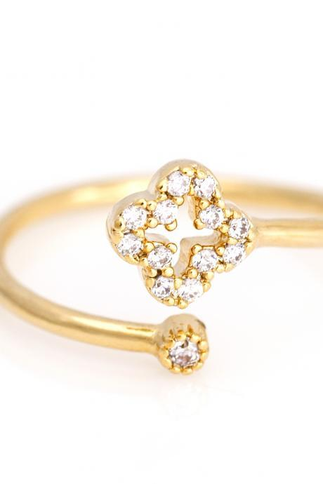 1 Clover Open ring Lucky Symbol Ring Gold Plated over Brass 5NEER3