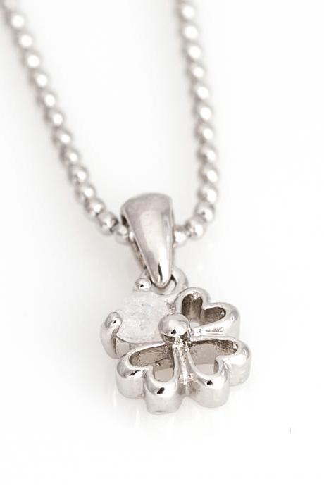 Clover Neckalace Four Leaves Necklace Rhodium Plated over Brass 5NEEN2