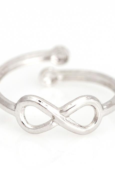Infinity Open Ring Lucky Symbol Ring Rhodium Plated over Alloy 5NEDR1