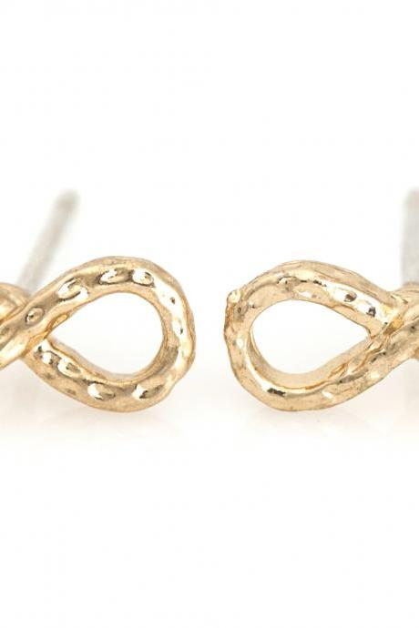 Infinity Earrings Delicate Scratch Infinity Stud Gold Plated Brass 5NEDE2