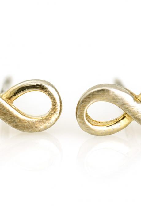 Infinity Earrings Delicate Scratch Infinity Stud Gold Plated Brass 5NEDE1