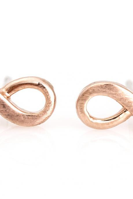 Infinity Earrings Delicate Scratch Stud Rose Gold Plated Brass 5NEDE1
