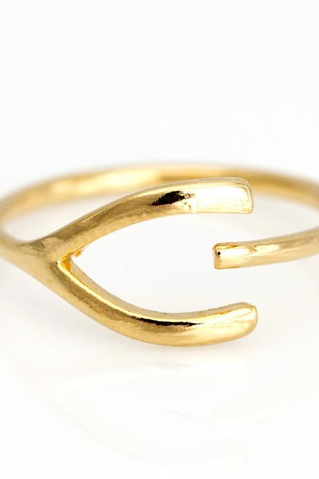 Wishbone Open Ring Lucky Symbol Ring Gold Plated over Brass 5NECR1