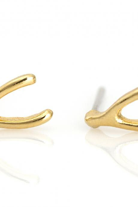 Wishbone Earrings Lucky Symbol Stud Gold Plated over Brass 5NECE1