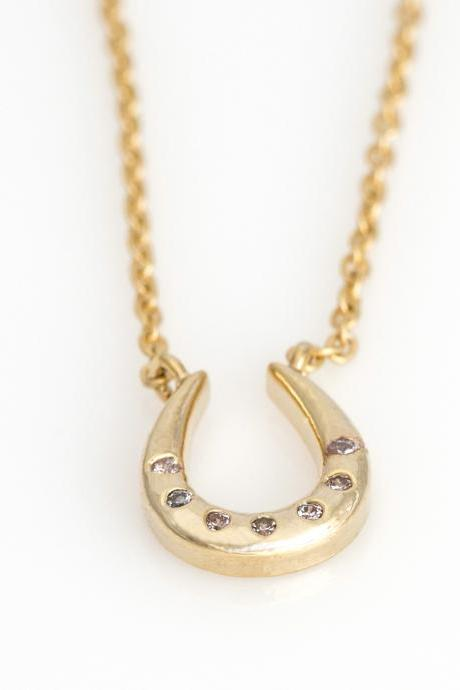 Horseshoe Necklace Lucky Symbol Necklace Gold Plated over Brass 5NEBN1