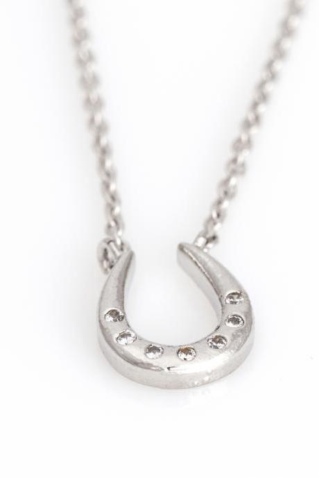 Horseshoe Necklace Lucky Symbol Necklace Rhodium Plated over Brass 5NEBN1