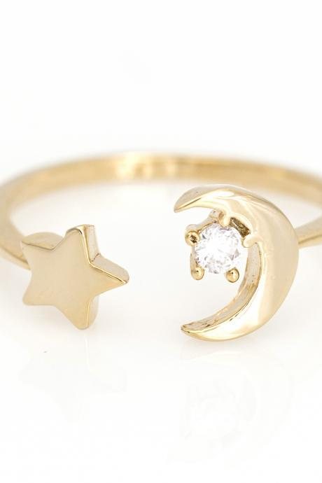 Crescent Moon and Star Open Ring Delicate Shiny Ring Gold Plated Brass 5NDAR1