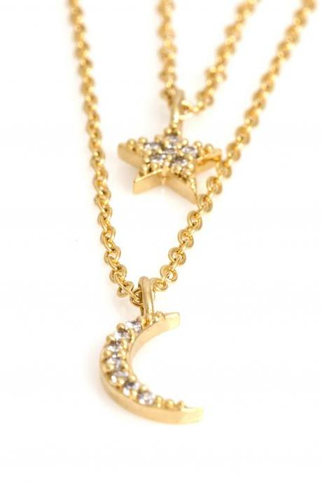 Crescent and Star Double Layered Necklace Gold Plated over Brass 5NDAN3