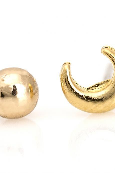 Unbalanced Moon and Circle Earrings Delicate Stud Gold Plated Brass 5NDAE5