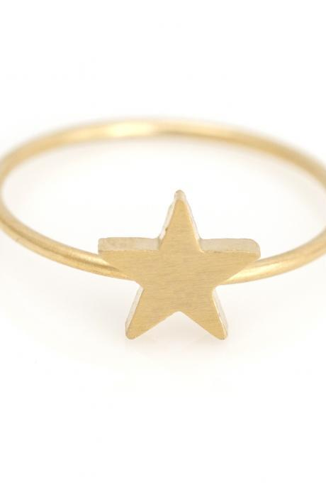 1 Star Ring Delicate Scratch Ring Gold Plated over Brass 5NBAR8
