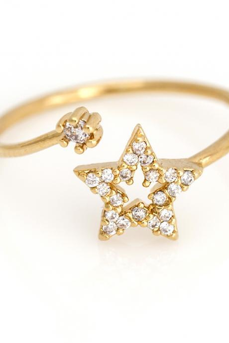 1 Star Open Ring Shiny Free Size Ring Gold Plated over Brass 5NBAR5