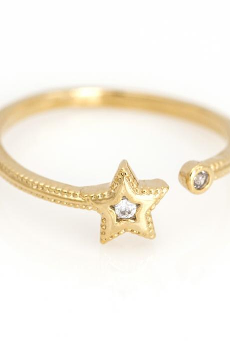 1 Star Open Ring Shiny Free Size Ring Gold Plated over Brass 5NBAR4