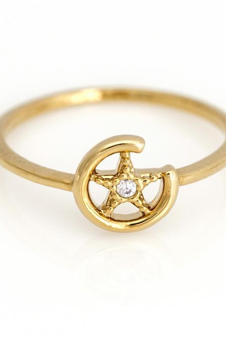 1 Star Ring Circle Shiny Shape Ring Gold Plated over Brass 5NBAR3