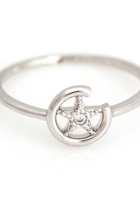 1 Star Ring Circle Shiny Shape Ring Rhodium Plated over Brass 5NBAR3