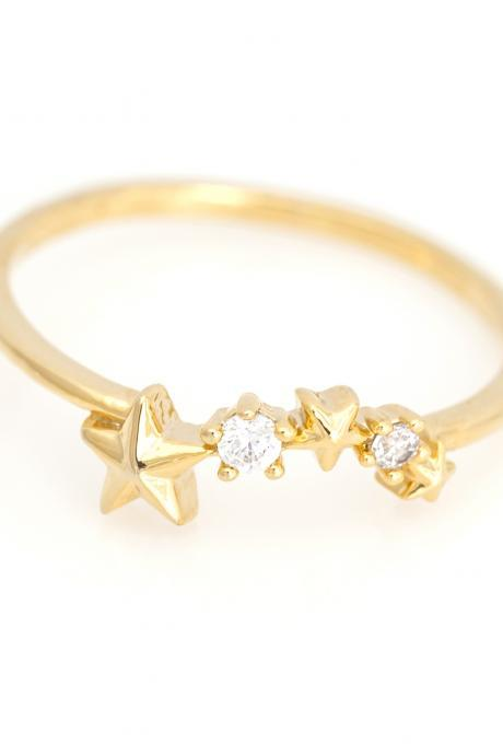 Stars Ring Shiny Constellation Ring Gold Plated over Brass 5NBAR2
