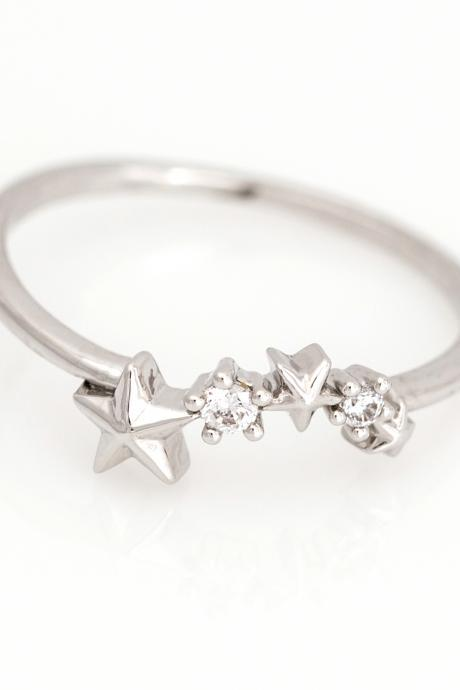 Stars Ring Shiny Constellation Ring Rhodium Plated over Brass 5NBAR2