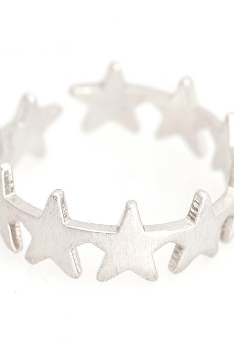 Mulit Stars Open Ring Delicate Shiny Ring Rhodium Plated over Brass 5NBAR16
