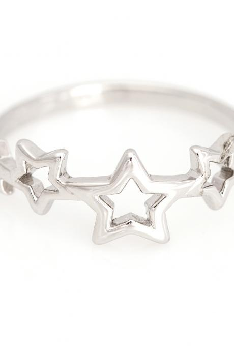 Mulit Stars Ring Delicate Shiny Ring Rhodium Plated over Brass 5NBAR15