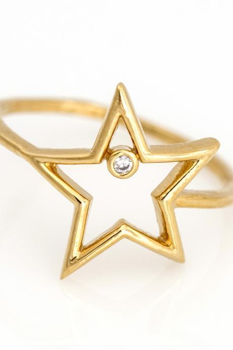 1 Star Ring Delicate Shiny Ring Gold Plated over Brass 5NBAR13