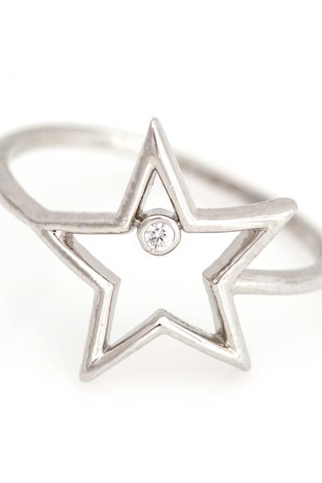 1 Star Ring Delicate Shiny Ring Rhodium Plated over Brass 5NBAR13