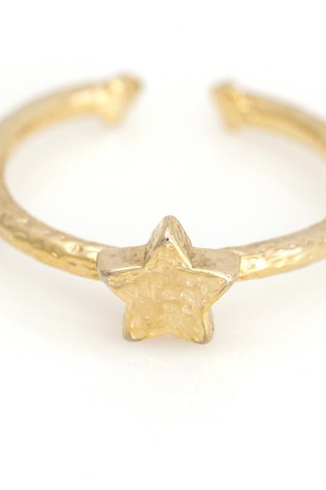 1 Star Open Ring Vintage Style Ring Gold Plated over Alloy 5NBAR12