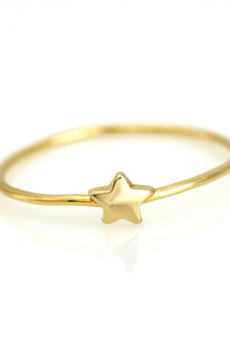 1 Star Ring Delicate Shiny Ring Gold Plated over Brass 5NBAR11