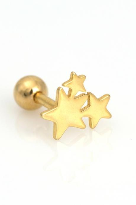 Stars Peircing for Tragus Helix Lobe Use Gold Plated over Brass 5NBAP16