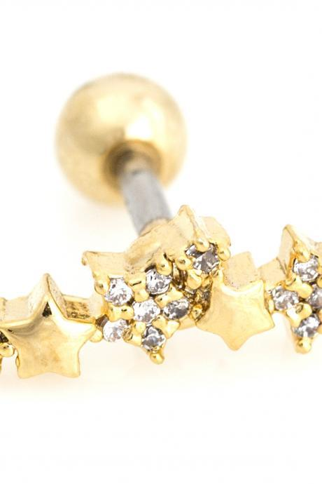 Stars Peircing for Tragus Helix Lobe Use Gold Plated over Brass 5NBAP12