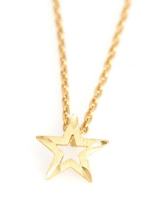1 Star Necklace Delicate Scratch Star Necklace Gold Plated over Brass 5NBAN7
