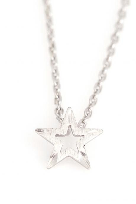 1 Star Necklace Delicate Scratch Star Necklace Rhodium Plated Brass 5NBAN7