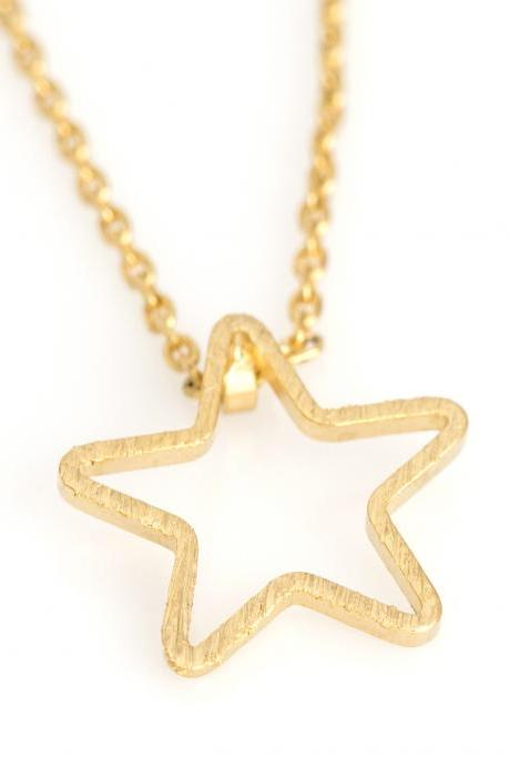 1 Star Necklace Delicate Scratch Star Necklace Gold Plated over Brass 5NBAN6