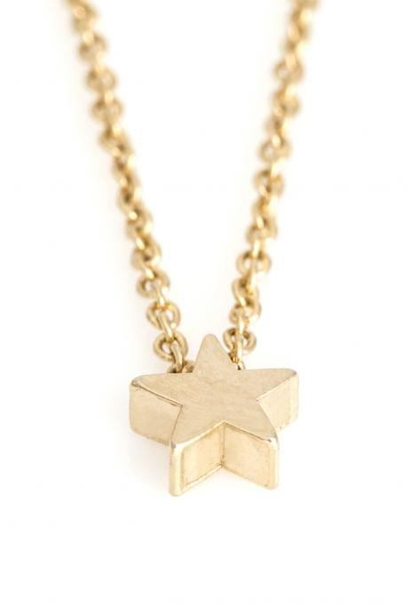 1 Star Necklace Delicate Star Necklace Gold Plated over Brass 5NBAN5