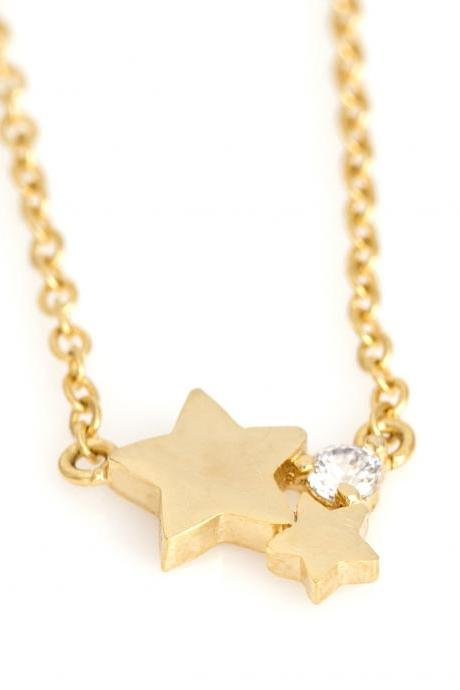 Star Necklace Tiny Delicate Star Gold Plated over Brass 5NBAN1