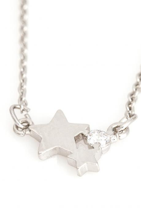 Star Necklace Tiny Delicate Star Rhodium Plated over Brass 5NBAN1