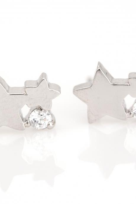Multi Stars Earrings Delicate Star Stud Rhodium Plated over Brass 5NBAE8