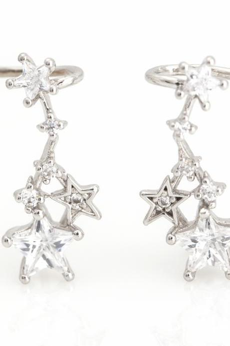 Stars Ear Cuff Earrings Rhodium Plated over Brass 5NBAE7