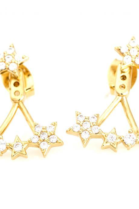 Two Way Stars Earrings Ear Jacket Gold Plated over Brass 5NBAE5