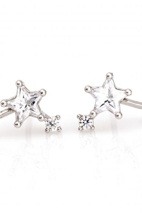 3 Stars Earrings Multi Stars Stud Rhodium Plated over Brass 5NBAE4