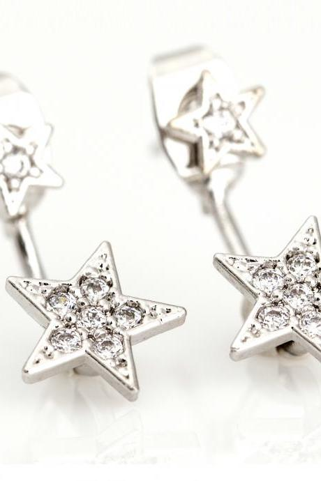 Two Way Stars Earrings Ear Jacket Rhodium Plated over Brass 5NBAE2