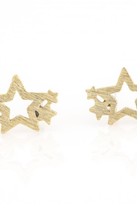 Multi Stars Earrings Delicate Scratch Star Stud Gold Plated over Brass 5NBAE12