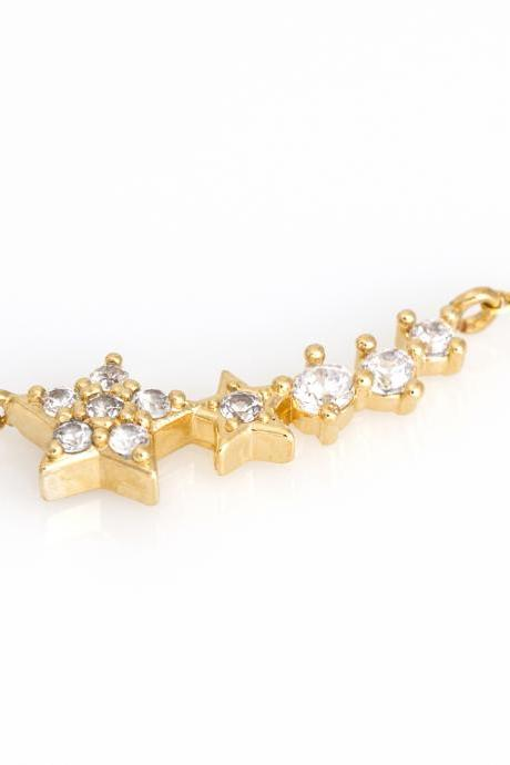 Multi Stars Bracelet Shiny Bracelet Gold Plated over Brass 5NBAB1