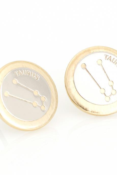 Taurus Earrings Zodiac Stud Round Earrings Gold Plated over Brass 5NABE62