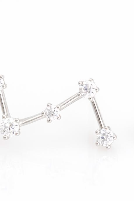 Virgo Constellation Earrings Unbalanced Stud Rhodium Plated Brass 5NABE2