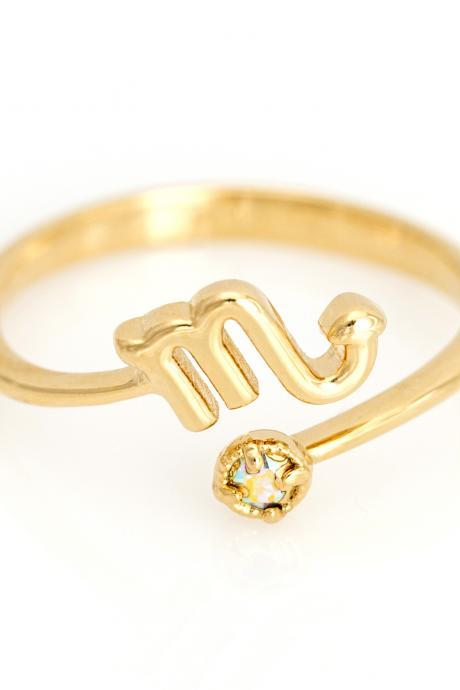Scorpio Open Ring Zodiac Sign Gold Plated over Brass 5NAAR18